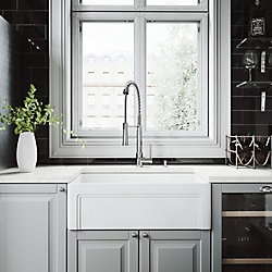 VIGO All-in-One Farmhouse Matte Stone 30 inch Single Bowl Kitchen Sink with Laurelton Faucet in Chrome