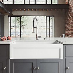 VIGO All-in-One 36 inch Matte Stone Single Bowl Undermount Kitchen Sink with Pull Down Faucet in Chrome and Soap Dispenser