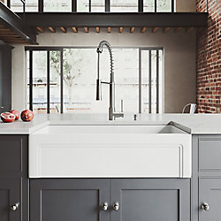 VIGO All-in-One Farmhouse Matte Stone 36 inch Single Bowl Kitchen Sink with Laurelton Faucet in Stainless Steel