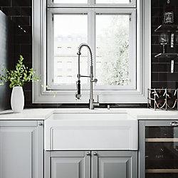 VIGO Ensemble d'évier de cuisine tout-en-un en pierre au fini mat de 30 po , comprenant un robinet au fini acier inoxydable Zurich, une crépine et un distributeur de savon