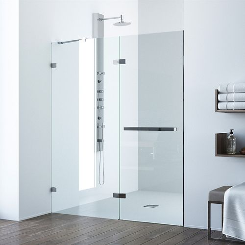 VIGO Nyos 60 to 61 inch x 72 inch Frameless Hinged Shower Door in Chrome with Clear Glass and Handle
