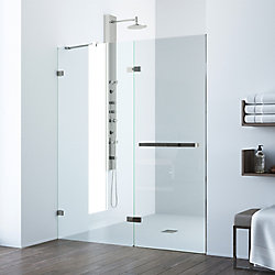 VIGO Nyos 60 to 61 inch x 72 inch Frameless Hinged Shower Door in Stainless Steel with Clear Glass and Handle
