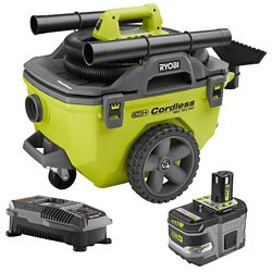 RYOBI 18V ONE+ Lithium-Ion Cordless 6 Gal. Wet/Dry Vacuum Kit with (1) 9.0 Ah Battery and Charger