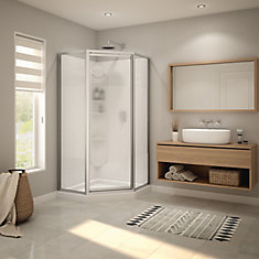Summit Neo-Angle 38 inch x 38 inch x 76.5 inch Shower Kit in Chrome
