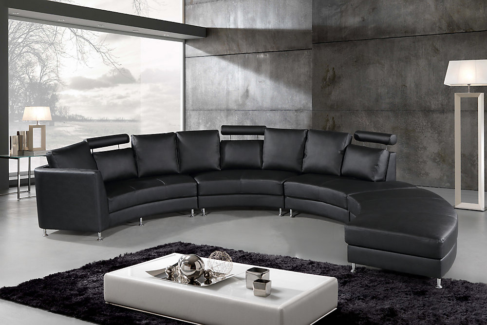 Rossini Modern Black Genuine Leather Circular Sectional Sofa
