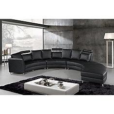 Rossini Sofa Sectionnel Circulaire En Cuir Noir Moderne