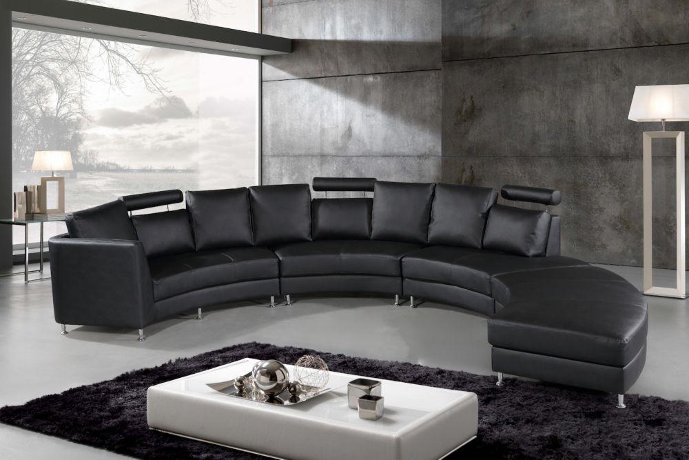 Velago Rossini Modern Black Genuine Leather Circular Sectional Sofa