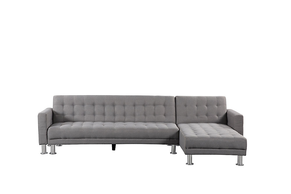Attalens Convertible Light Grey Polyester Fabric Sleeper Sofa