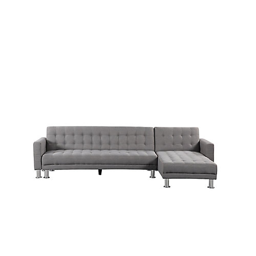 Attalens Convertible Light Grey Polyester Fabric Sleeper Sofa