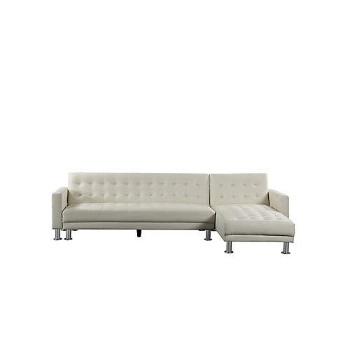 Attalens Convertible Cream Faux Leather Sleeper Sofa