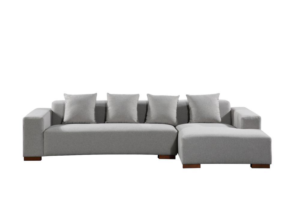 Velago Lyon Light Grey Right-Facing Sectional Sofa