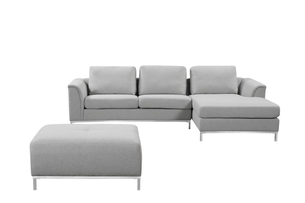 Velago Ollon Light Grey Right Facing Fabric Sectional Sofa The