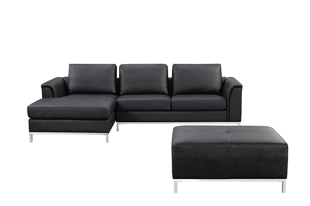 Fabulous Ollon Sofa Sectionnel Cuir Noir Gauche Complete Home Design Collection Papxelindsey Bellcom
