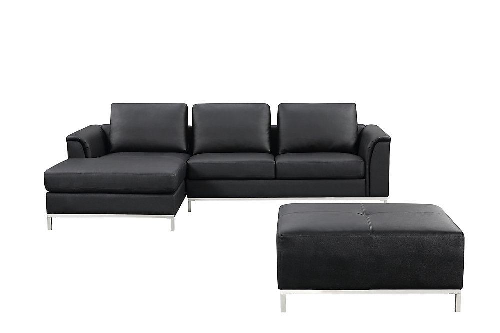 Strange Ollon Sofa Sectionnel Cuir Noir Gauche Interior Design Ideas Gentotryabchikinfo