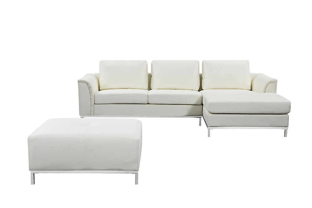 Astounding Ollon Cream Right Facing Leather Sectional Sofa Home Interior And Landscaping Ologienasavecom