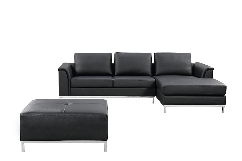 Pleasant Ollon Right Facing Leather Sectional Sofa In Black Home Interior And Landscaping Ologienasavecom