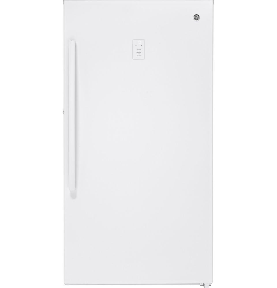 GE 17.3 Cu. Ft. Frost Free Upright Freezer - White on White