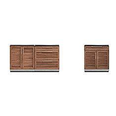 Outdoor Kitchen Grove  3-Piece 120 inch W x  36.5 inch H x 24 inch D  Cabinet Set
