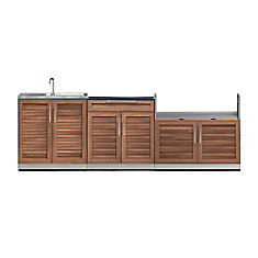 Outdoor Kitchen Grove  3-Piece 104 inch W x  36.5 inch H x 24 inch D  Cabinet Set with Sink