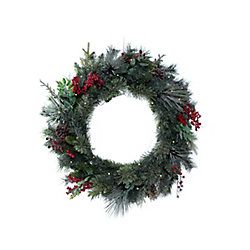 Home Accents Holiday 30-inch 35-Light Dusted Hillside Pre-Lit Christmas Wreath