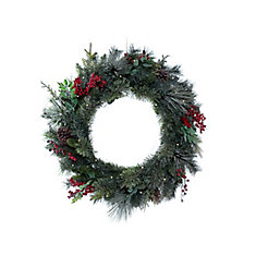 30-inch 35-Light Dusted Hillside Pre-Lit Christmas Wreath