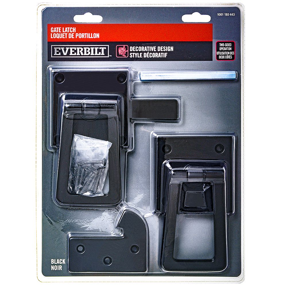 Everbilt Squared Decorative Handle Two-Way Gate Latch in Black - 1pk
