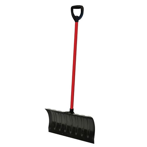 ERA Group Infinity Snow Pusher 21-inch Show Shovel with Steel Shaft in Red