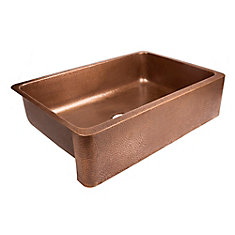 Lange Farmhouse Undermount Copper Sink 32-inch Single Bowl Kitchen Sink in Antique Copper