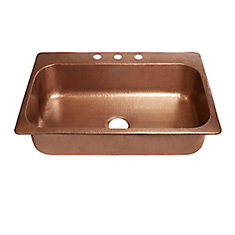 Angelico Drop-In Handmade Copper 33-inch 3-Hole Single Bowl Copper Kitchen Sink in Antique Copper