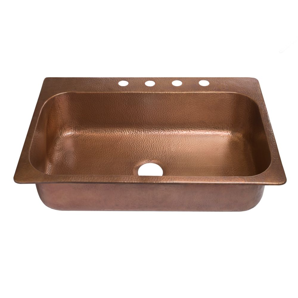Angelico Drop-In Handmade Copper 33-inch 4-Hole Single Bowl Copper Kitchen Sink in Antique Copper