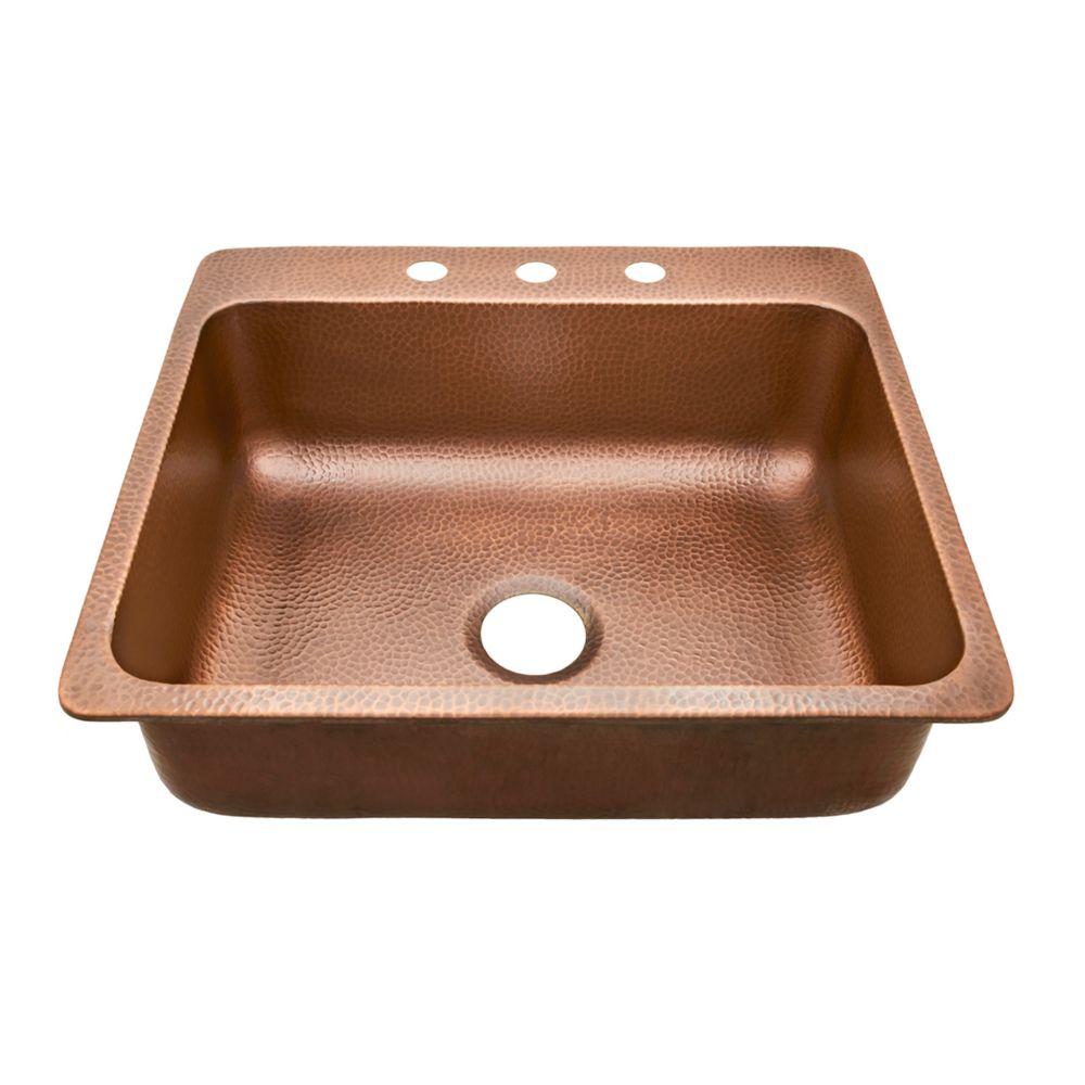 Rosa Drop In Copper Sink 25-inch 3-Hole Single Bowl Copper Kitchen Sink in Antique Copper