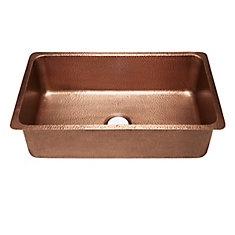 David Undermount Handmade Copper Sink 31 1/4-inch Luxury Single Bowl Kitchen Sink in Antique Copper