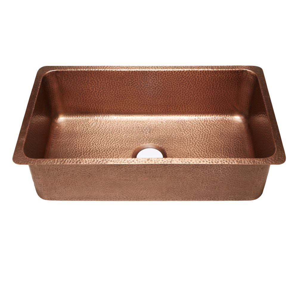 Sinkology David Undermount Handmade Copper Sink 31 1/4-inch Luxury Single Bowl Kitchen Sink in Antique Copper