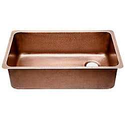 Sinkology David Chef Series Undermount Copper Sink 31 1/4-inch Single Bowl Kitchen Sink Antique Copper