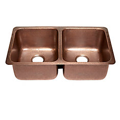 Rivera Luxury Series Undermount Solid Copper 32 1/4-inch Double Bowl Kitchen Sink in Antique Copper