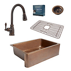 Adams Farmhouse Copper Kitchen Sink Combo with Strainer Drain and Pfister Faucet in Bronze