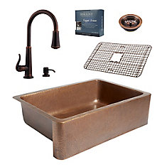 Adams All-In-One Copper Kitchen Sink Design Kit with Ashfield Pull Down Faucet