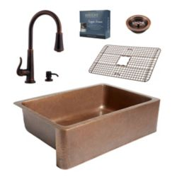 Sinkology Adams All-In-One Copper Kitchen Sink Design Kit with Ashfield Pull Down Faucet