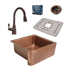 Monet All-in-One Farmhouse 25-inch Copper Kitchen Sink with Pfister Bronze Faucet & Strainer Drain