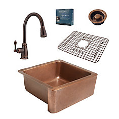 Monet All-in-One Farmhouse 25-inch Copper Kitchen Sink with Pfister Bronze Faucet & Disposal Drain
