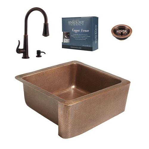 Sinkology All-In-One Monet Copper Farmhouse Kitchen Sink Design Kit with Ashfield Pull Down Faucet Rustic Bronze