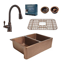 All-In-One Rockwell Farmhouse Copper Kitchen Sink Combo with Pfister Pull Down Faucet in Bronze