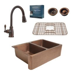 Sinkology All-In-One Rockwell Farmhouse Copper Kitchen Sink Combo with Pfister Pull Down Faucet in Bronze