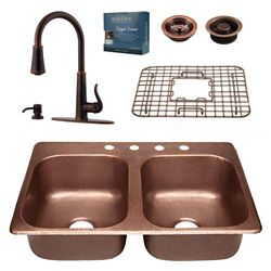 Sinkology All-In-One Copper Kitchen Sink Raphael Design Kit with Ashfield Pull Down Faucet