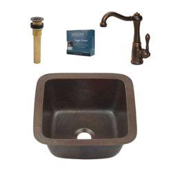 Sinkology Pollock  Evier de Bar/Prep 15-inch en Cuivre a Poser/Encastrer, Robinet flexible  en Bronze Ashfield