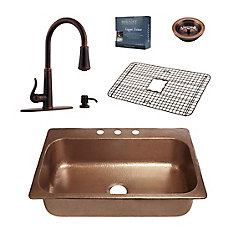 Angelico All-In-One Copper Drop-In Kitchen Sink Design Kit with Ashfield Pull Down Faucet in Bronze