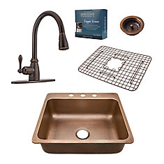 Rosa All-In-One Drop-In 25-inch 3-Hole Copper Kitchen Sink Combo with Pull Down Bronze Faucet