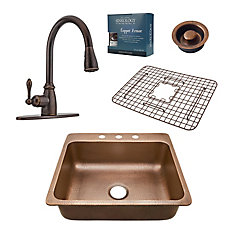 Rosa All-In-One Drop-In 25-inch 3-Hole Copper Kitchen Sink Combo with Bronze Faucet and Drain