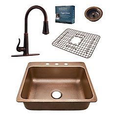 Rosa All-In-One 25-inch 3-Hole Copper Kitchen Sink Combo with Pfister Ashfield Bronze Faucet