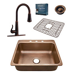 Sinkology Rosa All-In-One 25-inch 3-Hole Copper Kitchen Sink Combo with Pfister Ashfield Bronze Faucet & Drain